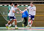 Stockholm 2014-09-18 Handboll Elitserien Hammarby IF - IFK Sk&ouml;vde :  <br /> Sk&ouml;vdes Markus Stegefelt jublar med Robin W&auml;rn efter ett av sina m&aring;l i matchen<br /> (Foto: Kenta J&ouml;nsson) Nyckelord:  Eriksdalshallen Hammarby HIF HeIF Bajen IFK Sk&ouml;vde jubel gl&auml;dje lycka glad happy