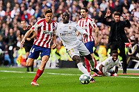 Ferland Mendy of Real Madrid and Marcos Llorente of Atletico de Madrid during La Liga match between Real Madrid and Atletico de Madrid at Santiago Bernabeu Stadium in Madrid, Spain. February 01, 2020. (ALTERPHOTOS/A. Perez Meca)<br /> 01/02/2020 <br /> Liga Spagna 2019/2020 <br /> Real Madrid - Atletico Madrid  <br /> Foto Alterphotos / Insidefoto <br /> ITALY ONLY
