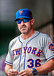 1 August 2018: New York Mets Manager Mickey Callaway chats in the dugout during a game against the Washington Nationals at Nationals Park in Washington, DC. The Nationals defeated the Mets 5-3 to sweep the 2-game weekday series. Mandatory Credit: Ed Wolfstein Photo *** RAW (NEF) Image File Available ***