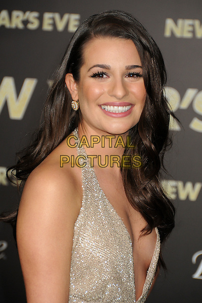 Lea Michele.'New Year's Eve' Los Angeles premiere at  Grauman's Chinese Theatre, Hollywood, California, USA..5th December 2011.headshot portrait beige gold sparkly halterneck plunging neckline cleavage smiling side.CAP/ADM/BP.©Byron Purvis/AdMedia/Capital Pictures.