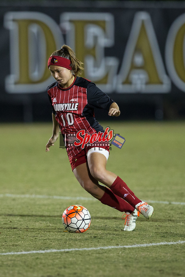 Aubrey Baker (10) of the Louisville Cardinals controls the ball during second half action against the Wake Forest Demon Deacons at Spry Soccer Stadium on October 31, 2015 in Winston-Salem, North Carolina.  The Demon Deacons defeated the Cardinals 2-1.  (Brian Westerholt/Sports On Film)