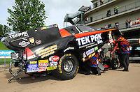 May 20, 2011; Topeka, KS, USA: NHRA funny car driver Dale Creasy Jr during qualifying for the Summer Nationals at Heartland Park Topeka. Mandatory Credit: Mark J. Rebilas-