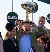 14h April 2018, Aintree Racecourse, Liverpool, England; The 2018 Grand National horse racing festival sponsored by Randox Health, day 3; Owner Michael O'Leary and his wife Anita celebrate winning the Grand National on Tiger Roll