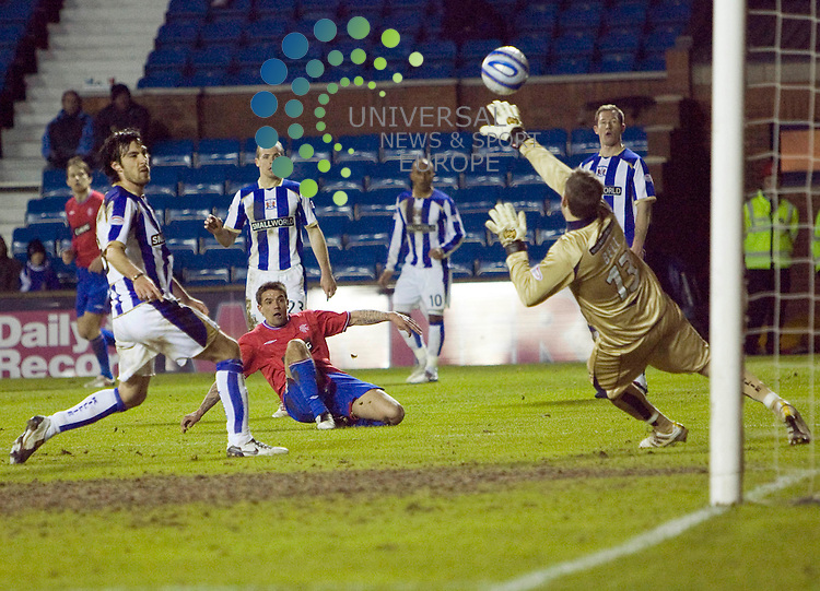 Nacho Novo send this chance over the bar during The Clydesdale Bank Premier League match between Rangers and Kilmarnock at Rugby Park 09/03/10..Picture by Ricky Rae/universal News & Sport (Scotland).