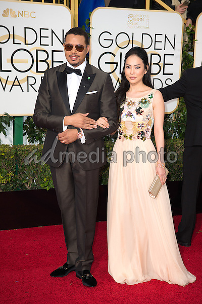 Terrance Howard and Mira Pak, arrives at the 73rd Annual Golden Globe Awards at the Beverly Hilton in Beverly Hills, CA on Sunday, January 10, 2016. Photo Credit: HFPA/AdMedia
