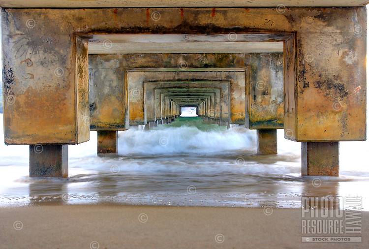 The view from under the Hanalei Pier on the North Shore of Kaua'i.