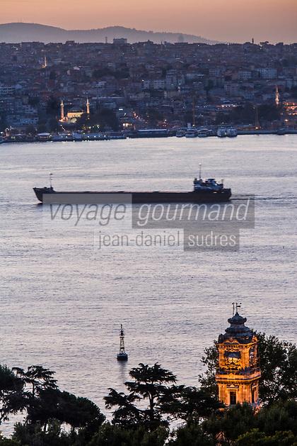 Europe/Turquie/Istanbul :  Tour d'horloge du palais de Dolmabahçe et le  Bosphore