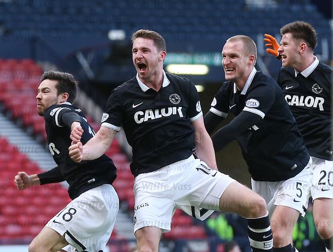 Callum Morris celebrates his goal for Dundee Utd