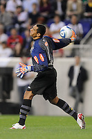 Santos FC goalkeeper Fabio Costa (1) during the first half of a friendly between Santos FC and the New York Red Bulls at Red Bull Arena in Harrison, NJ, on March 20, 2010. The Red Bulls defeated Santos FC 3-1.