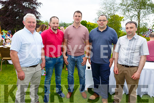 Enjoying the sun and fun at the Dairymaster 50th Anniversary BBQ in the Ballygarry Hotel on Sunday.<br /> Front l-r, John Cremin, Mark Sexton, Jason Houldey, Sean Leahy and John Collins.