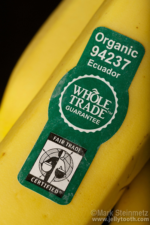 """Sticker on bananas in natural food store (Whole Foods) in the USA indicating the produce is Organic, its country of origin, and """"Fair Trade Certified"""""""