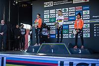 Women U23 race podium:<br /> <br /> 1. Inge Van der Heijden (NED)<br /> 2. Ceylin Del Carmen Alvarado (NED)<br /> 3. Fleur Nagengast (NED)<br /> <br /> UCI 2019 Cyclocross World Championships<br /> Bogense / Denmark<br /> <br /> <br /> &copy;kramon