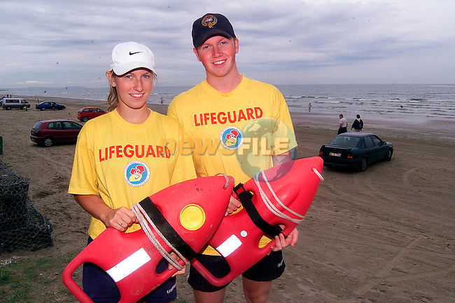Rory Nannery and Aisling O'Brien, lifegaurds on Bettystown beach..Picture: Paul Mohan/Newsfile