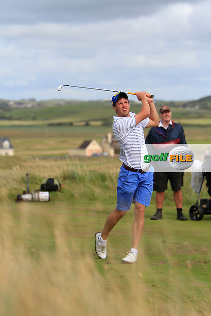 Alex Gleeson (Castle) on the 11th tee during the South of Ireland Amateur Open Championship Quarter Finals at Lahinch Golf Club  30th July 2013 <br /> Picture:  Thos Caffrey / www.golffile.ie