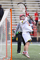 College Park, MD - February 24, 2019: Maryland Terrapins goalie Megan Taylor (34) makes a save during the game between North Carolina and Maryland at  Capital One Field at Maryland Stadium in College Park, MD.  (Photo by Elliott Brown/Media Images International)