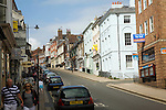 Uphill view of High Street in the town centre of Lewes, East Sussex, England