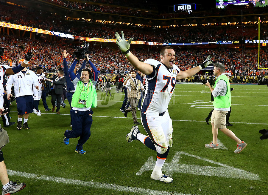 Feb 7, 2016; Santa Clara, CA, USA; Denver Broncos offensive tackle Michael Schofield (79) celebrate victory over the Carolina Panthers in Super Bowl 50 at Levi's Stadium. Mandatory Credit: Mark J. Rebilas-USA TODAY Sports