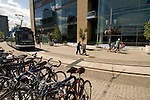 Portland Streetcar with bicycles at the OHSU Center for Health and Healing, South Waterfront, Portland, Oregon