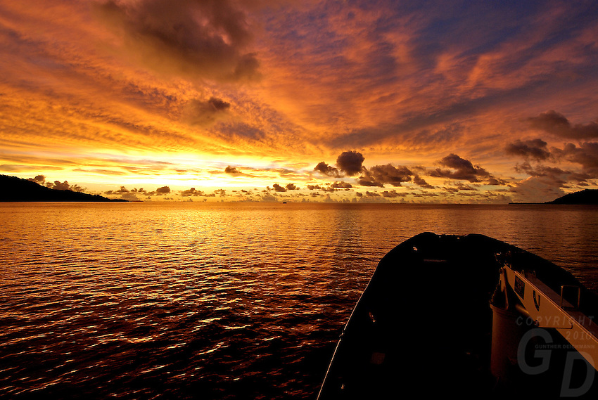 Sunset over Truk Lagoon from the ship, Micronesia