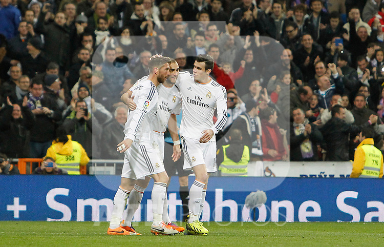 Real Madrid's Sergio Ramos, Karim Benzema and Garet Bale celebrate goal during La Liga match.February 9,2014. (ALTERPHOTOS/Alfaqui)