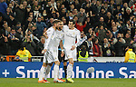 Real Madrid's Sergio Ramos, Karim Benzema and Garet Bale celebrate goal during La Liga match.February 9,2014. (ALTERPHOTOS/Alfaqui)