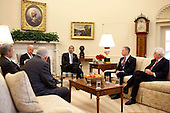 Washington, DC - June 10, 2009 -- United States President Barack Obama and Vice President Joseph Biden meet in the Oval Office Wednesday, June 10, 2009 with (from left) U.S. Senate Finance Committee Chairman Senator Max Baucus, (Democrat of Montana) U.S. Senator Michael Enzi, (Republican of Wyoming) the ranking member on the Senate Committee on Health, Education, Labor and Pensions, U.S. Senator Charles Grassley, (Republican of Iowa)  the ranking member of the Senate Finance Committee, and U.S. Senator Chris Dodd, (Democrat of Connecticut), the senior member of the Senate Committee on Health, Education, Labor and Pensions to discuss health care reform..Mandatory Credit: