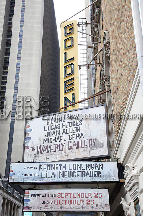 Broadway Theatre Marquee unveiling for Kenneth Lonergan's acclaimed memory play 'The Waverly Gallery' starring Elaine May, Joan Allen, Lucas Hedges and Michael Cera at the Golden Theatre on August 3, 2018 in New York City.