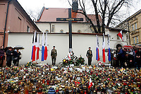 Polish Scouts stand guard Sunday at the Katyn memorial near Wawel Castle in Krakow. Krakovians gathered there to light candles and honor their fallen president. Polish President Lech Kaczynski and many of the country's top leaders were killed in a plane crash Saturday morning on route to the site of a Soviet massacre of Polish officers during World War II. .. April 10, 2010
