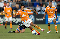 22 May 2008: Dwayne De Rosario of the Dynamo dribbles the ball during the game against the Earthquakes at Buck Shaw Stadium in San Jose, California.   San Jose Earthquakes defeated Houston Dynamo, 2-1.