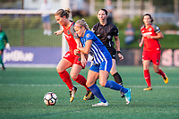 Boston, MA - Sunday September 10, 2017: Amandine Henry and Rosie White during a regular season National Women's Soccer League (NWSL) match between the Boston Breakers and Portland Thorns FC at Jordan Field.
