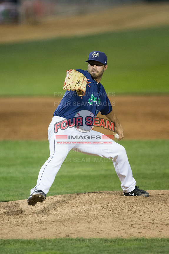 Helena Brewers relief pitcher Cody Beckman (39) in action against the Orem Owlz at Kindrick Legion Field on August 17, 2017 in Helena, Montana.  The Owlz defeated the Brewers 5-2.  (Brian Westerholt/Four Seam Images)