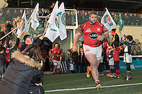 London Welsh players enter the pitch during the Greene King IPA Championship match between Ealing Trailfinders and London Welsh RFC at Castle Bar , West Ealing , England  on 26 November 2016. Photo by David Horn / PRiME Media Images