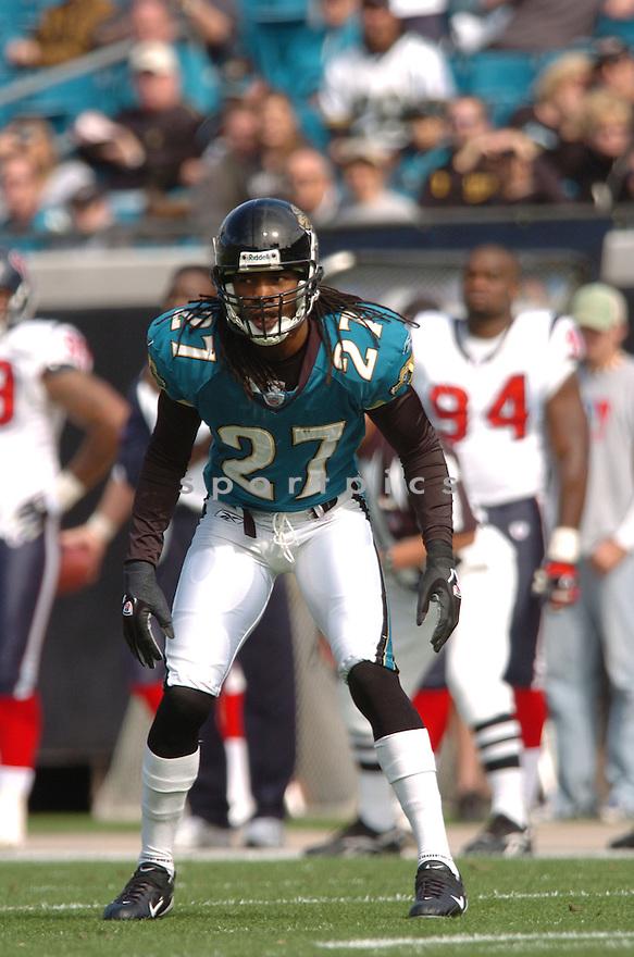 RASHEAN MATHIS, of the Jacksonville Jaguars ,during their game against  the Houston Texans on Novmeber 12, 2006 in Jacksonville, FL...Texans  win 13-10..Tomasso DeRosa / SportPics