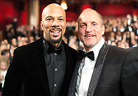 Common and Oscar&reg; nominee Woody Harrelson during the live ABC Telecast of The 90th Oscars&reg; at the Dolby&reg; Theatre in Hollywood, CA on Sunday, March 4, 2018.<br /> *Editorial Use Only*<br /> CAP/PLF/AMPAS<br /> Supplied by Capital Pictures