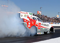 Feb. 22, 2013; Chandler, AZ, USA; NHRA funny car driver Todd Lesenko during qualifying for the Arizona Nationals at Firebird International Raceway. Mandatory Credit: Mark J. Rebilas-