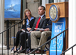 Glenna Smith, with Senator Dean Heller's office, and Carson City Mayor Bob Crowell participate in a USS Nevada Centennial of Launch ceremony at the Capitol, in Carson City, Nev., on Friday, July 11, 2014.<br /> Photo by Cathleen Allison