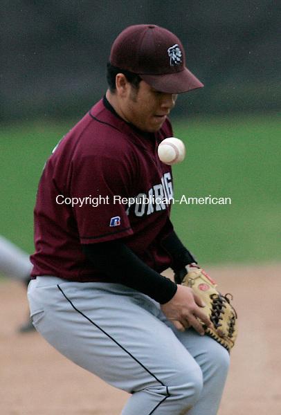 TORRINGTON, CT 4/25/07- 042507BZ06- Torrington's Miguel Gonsalez (6) bobbles the ball during their game against Wilby Wednesday.<br /> Jamison C. Bazinet Republican-American