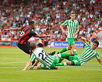 The shot from Jordon Ibe of AFC Bournemouth is blocked by Aissa Mandi of Real Betis right during AFC Bournemouth vs Real Betis, Friendly Match Football at the Vitality Stadium on 3rd August 2018
