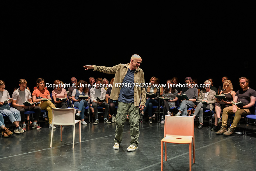 """The National Theatre of Scotland presents """"Total Immediate Collective Imminent Terrestrial Salvation"""", written by Tim Crouch, in The Studio, as part of the Edinburgh International Festival. Directed by Karl James and Andy Smith, with design and illustration by Rachana Jadhav, lighting design by Karen Bryce, sound design by Pippa Murphy. The actors are: Tim Crouch, Shyvonne Ahmmad and Susan Vidler. Picture shows: Tim Crouch."""
