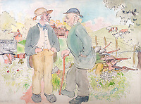 BNPS.co.uk (01202 558833)<br /> Pic: GSpencerEstate/LissLlewellyn<br /> <br /> Officer 'Target-left rapid fire!' Ancient 'But 'Ows George?'<br /> <br /> Never-before-seen paintings depicting the humourous side of the Home Guard that were censored for being too offensive have come to light nearly 80 years later.<br /> <br /> The light-hearted works were produced by the artist Gilbert Spencer more than 25 years before Dad's Army appeared on TV to huge acclaim. <br /> <br /> But Spencer's witty take on life in the Home Guard wasn't quite so well received during the darkest days of the Second World War.<br /> <br /> Spencer was too old to enlist in the army and so joined the Home Guard. In wanting to do his bit he produced 14 paintings based on his amusing observations of the citizen militia that were aimed at cheering up the nation.
