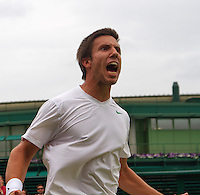 27-06-13, England, London,  AELTC, Wimbledon, Tennis, Wimbledon 2013, Day four, Igor Sijsling (NED) screems of hapiness after defeating Milos Raonic<br /> <br /> <br /> <br /> Photo: Henk Koster