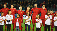 20191112 - LEUVEN , BELGIUM : Belgian players with Julie Biesmans , Laura De Neve , Elena Dhont , Janice Cayman , Justine Vanhaevermaet , Tine De Caigny and Davina Philtjens pictured with the players children mascots during the female soccer game between the Belgian Red Flames and Lithuania , the fourth womensoccer game for Belgium in the qualification for the European Championship round in group H for England 2021, Tuesday 12 th November 2019 at the King Power Stadion Den Dreef in Leuven , Belgium. PHOTO SPORTPIX.BE | DAVID CATRY