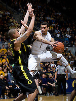 Justin Cobbs of California in action during the game against Oregon at Haas Pavilion in Berkeley, California on February 16th, 2012.  California defeated Oregon, 86-83.