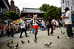 AUGUST 7, 2016 - A cosplayer talks on the phone at Osu Kannon temple prior to the start of parade during the World Cosplay Summit in Nagoya, Japan.<br /> <br /> The week-long event attracts thousands of cosplayers from Japan and around the world. Cosplay, or costume play, involves participants dressing and acting as characters from TV, movies, comics, and video games. (Photo by Ben Weller/AFLO) (JAPAN) [UHU]