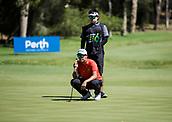 10th February 2018, Lake Karrinyup Country Club, Karrinyup, Australia; ISPS HANDA World Super 6 Perth golf, third round; Rattanon Wannasrichan (THA) lines up a putt