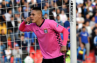 BOGOTÁ - COLOMBIA, 22-07-2018: Diego Valdés, jugador de Boyaca Chico F. C., celebra el gol anotado a Millonarios, durante partido de la fecha 1 entre Millonarios y Boyacá Chicó F. C., por la Liga Aguila II-2018, jugado en el estadio Nemesio Camacho El Campin de la ciudad de Bogota. / Diego Valdes, player of Boyaca Chico F. C., celebrates the scored goal to Millonarios, during a match of the 1st date between Millonarios and Boyaca Chico F. C., for the Liga Aguila II-2018 played at the Nemesio Camacho El Campin Stadium in Bogota city, Photo: VizzorImage / Luis Ramirez / Staff.