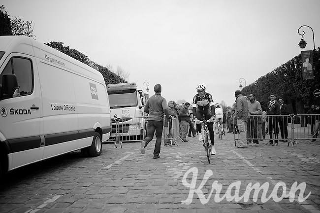 Tom Boonen (BEL/OPQS) on his way to the sign-in<br /> <br /> Paris - Roubaux 2014
