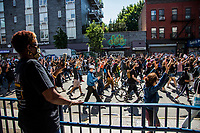 NEW YORK, NEW YORK - JUNE 03: People take part during a protest against the death of George Floyd on June 3, 2020 in Brooklyn, New York. Protests spread across the country in at least 30 cities across the United States, over the death of unarmed black man George Floyd at the hands of a police officer, this is the latest death in a series of police deaths of black Americans. (Photo by Pablo Monsalve / VIEWpress via Getty Images)