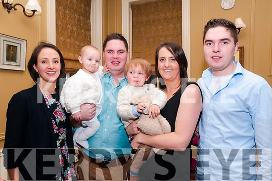 Baby Micheal Jack O'Connor with his parents Micheal & Lisa O'Connor, Duagh & Dublin and his god parents Amy Taylor & Breanainn O'Connor and brother Brendan who was christened in St. Mary's Church, Listowel by Canon Declan O'Connor on Saturday last and afterwards at the Listowel Arms Hotel.