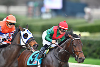 HOT SPRINGS, AR - FEBRUARY 19: Rocking The Boat #9 with jockey Fernando De La Cruz with an early lead in the Razorback Handicap at Oaklawn Park on February 19, 2018 in Hot Springs, Arkansas. (Photo by Ted McClenning/Eclipse Sportswire/Getty Images)